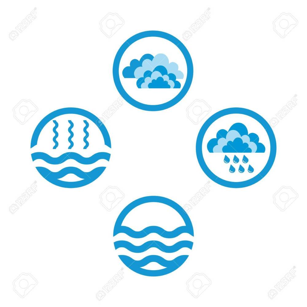medium resolution of the water cycle raster diagram of precipitation collection evaporation and condensation icons set raster illustration