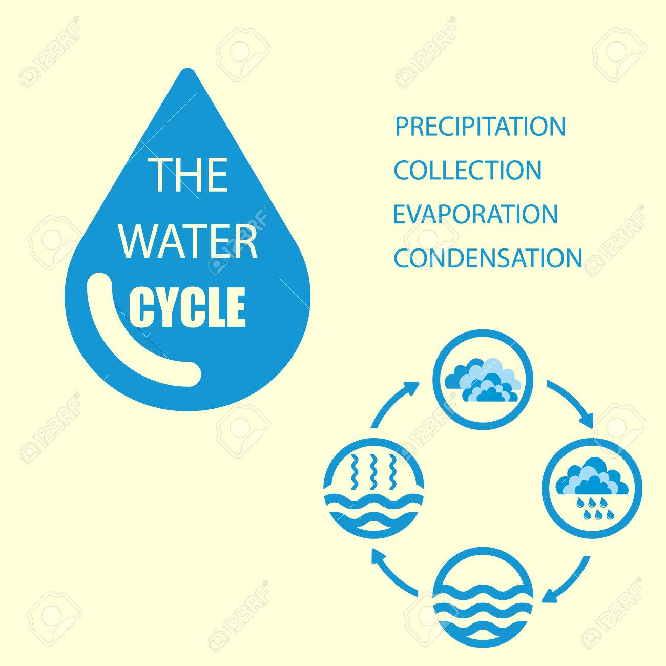hight resolution of the water cycle raster diagram of precipitation collection evaporation and condensation icons set raster illustration