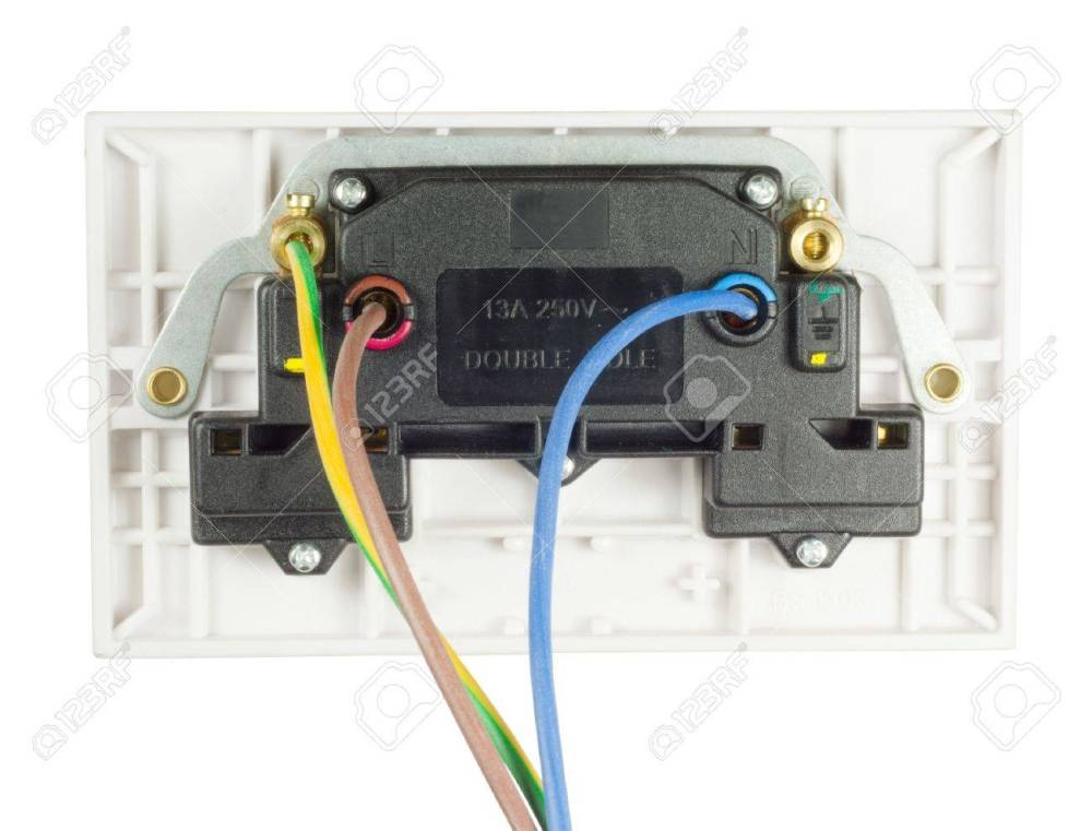 medium resolution of back view of a uk double socket outlet stock photo 16245674