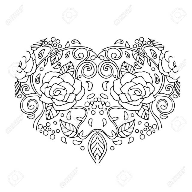 Decorative Love Heart With Flowers . Valentines Day Card. Coloring
