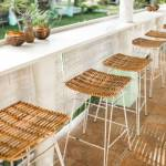 Wicker Rattan Chairs On Bar Counter Trendy Furniture Design Stock Photo Picture And Royalty Free Image Image 152705759