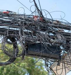 many electrical cable wire and telephone line on electricity post thailand wire and cable clutter potential danger from a mess of wires [ 1300 x 866 Pixel ]