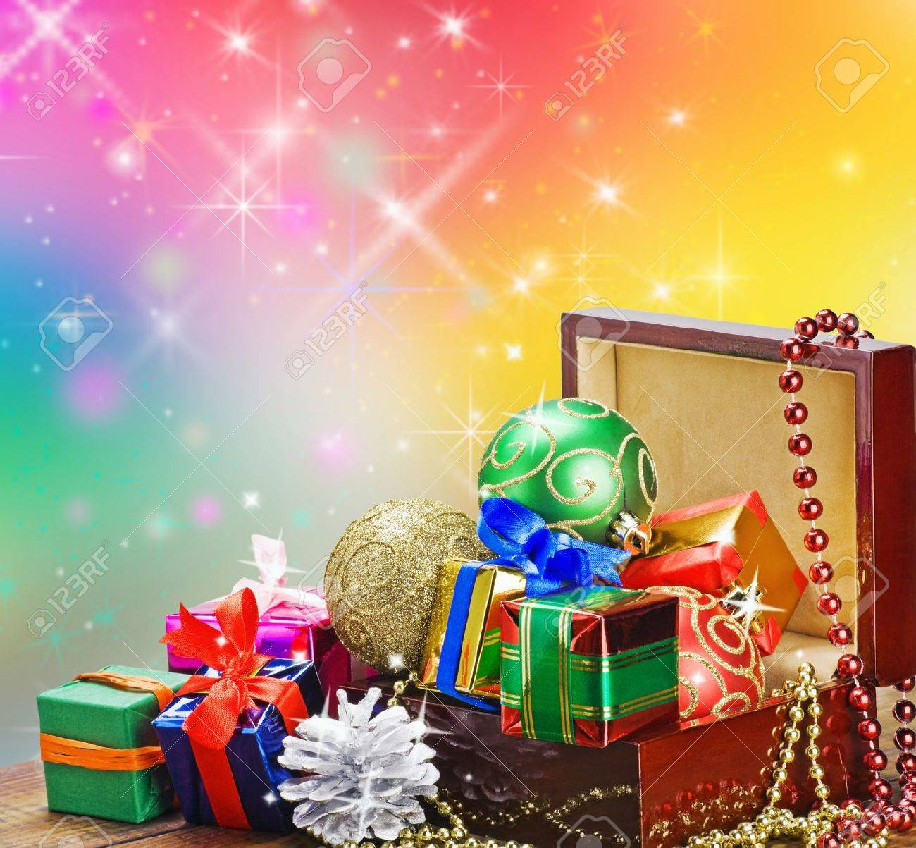 Christmas Decorations Balloons And Gifts In A Wooden Box On Stock Photo Picture And Royalty Free Image Image 15988820