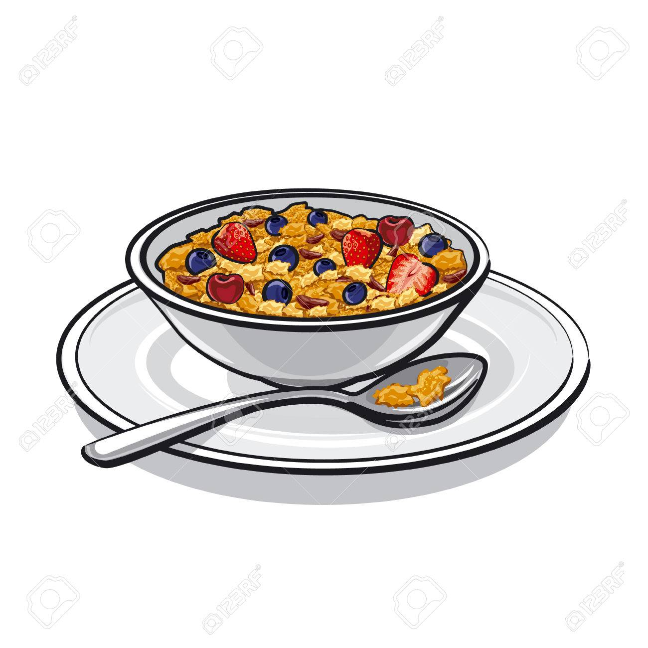 hight resolution of muesli on breakfast stock vector 25929074