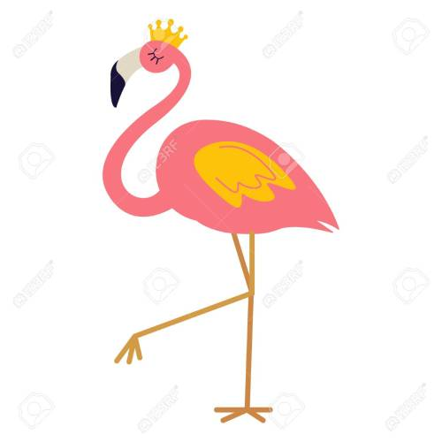 small resolution of pink flamingo with crown stock vector 96927125