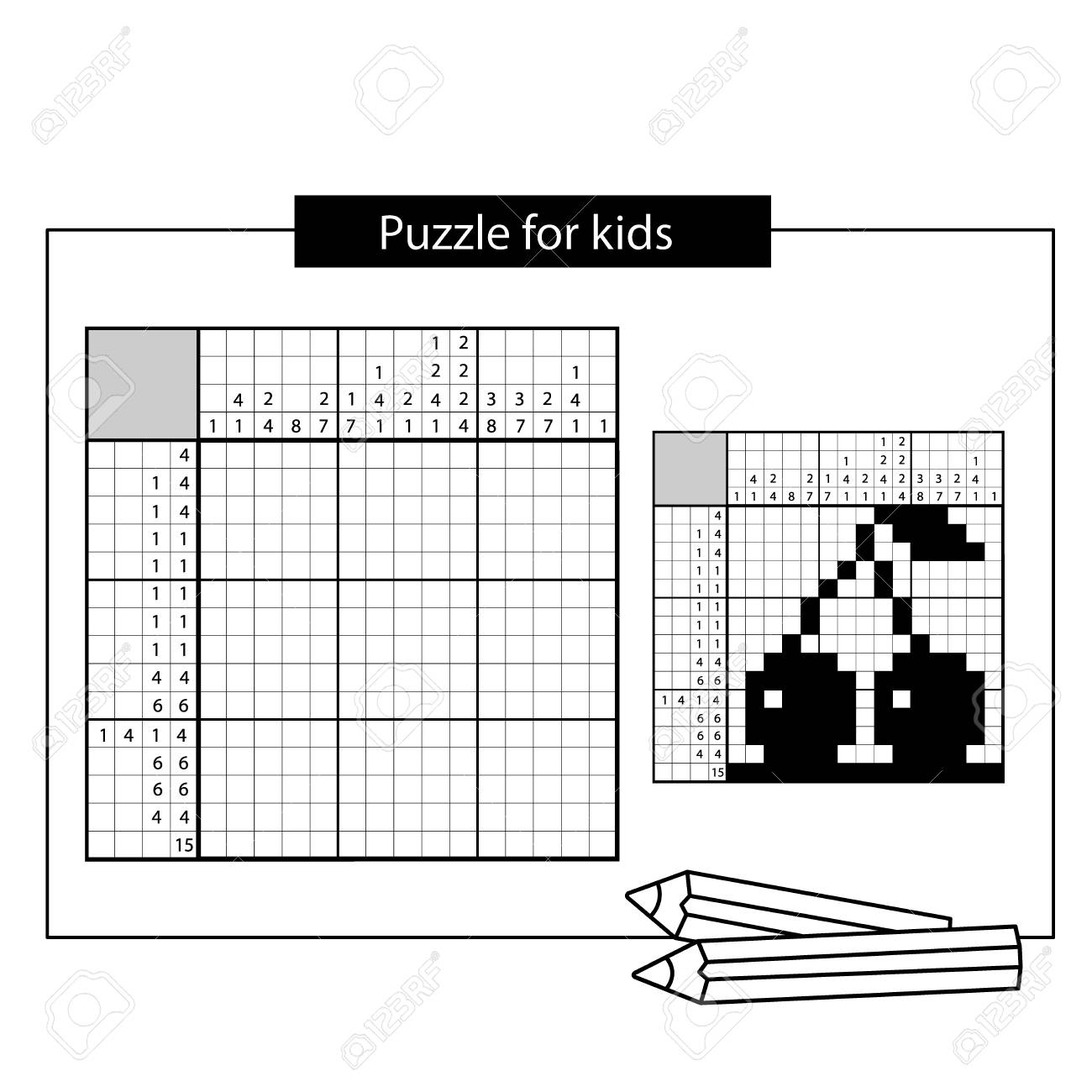hight resolution of cherry black and white japanese crossword with answer nonogram with answer graphic crossword