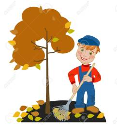 happy little boy gardener raking leaves in the garden stock vector 40533570 [ 1175 x 1300 Pixel ]