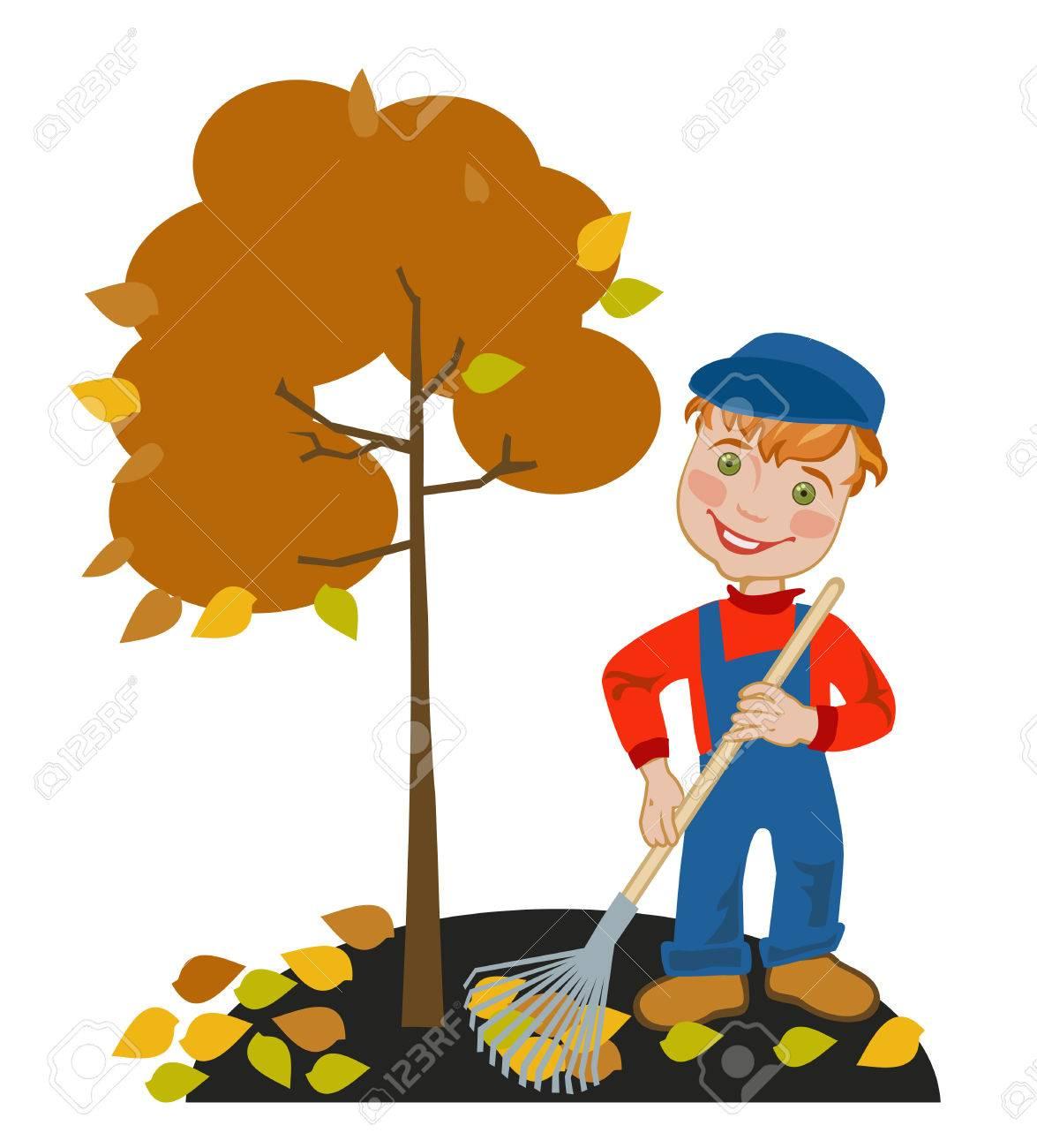 hight resolution of happy little boy gardener raking leaves in the garden stock vector 40533570
