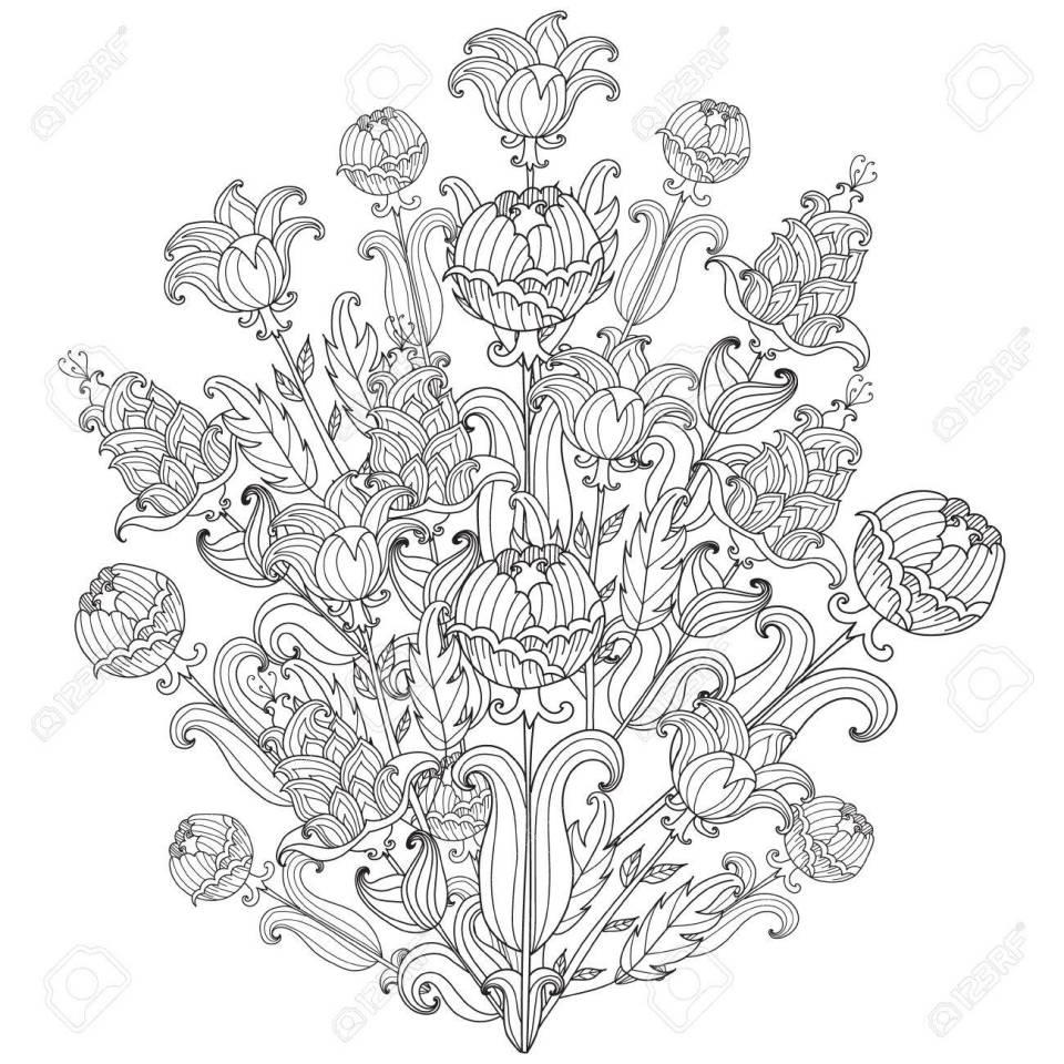 黒と白の花をスケッチします。ベクター装飾花。大人のためのぬり絵の