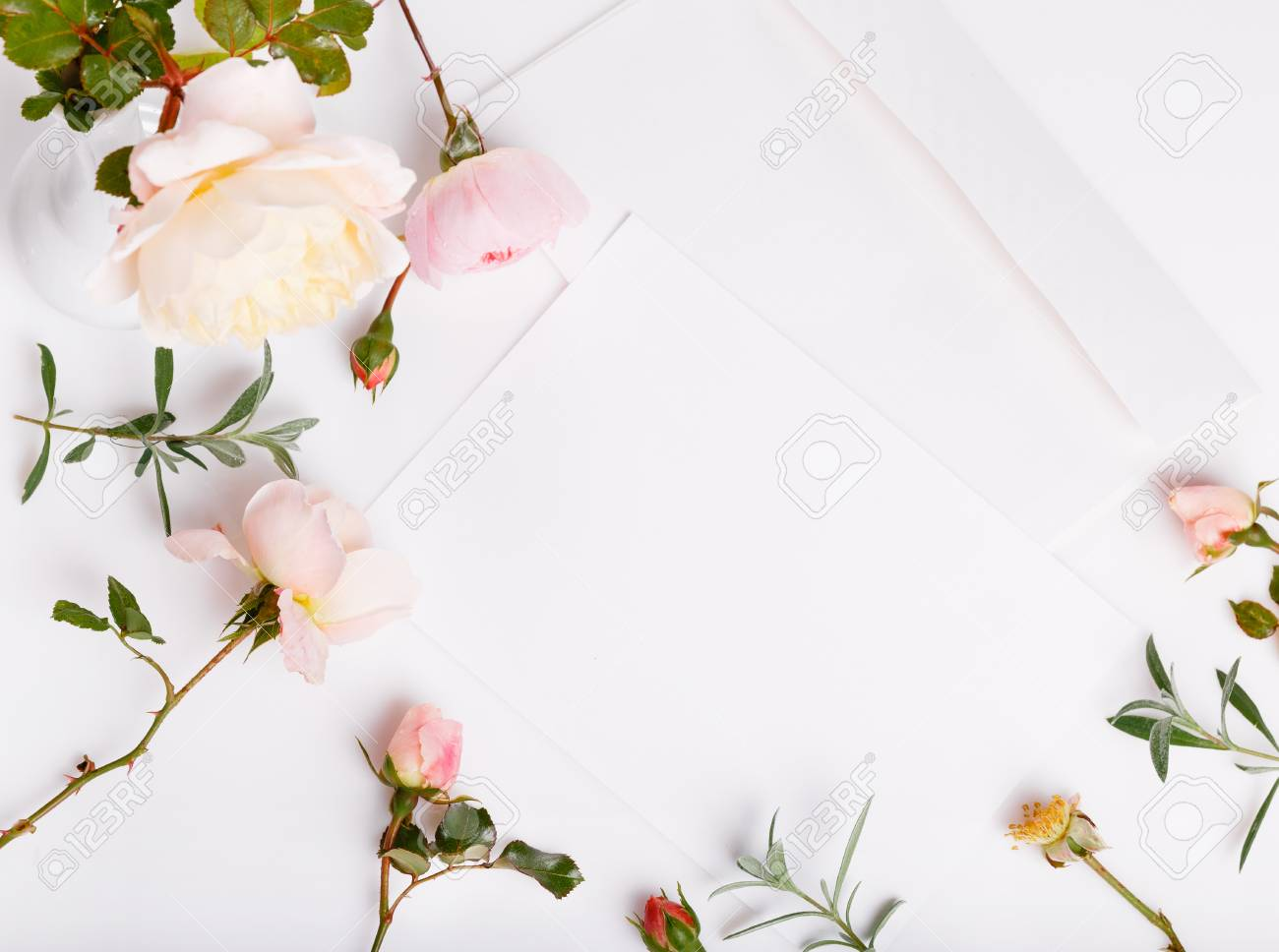 https www 123rf com photo 99349050 letter pen and white envelope on white background with pink english rose invitation cards or love le html