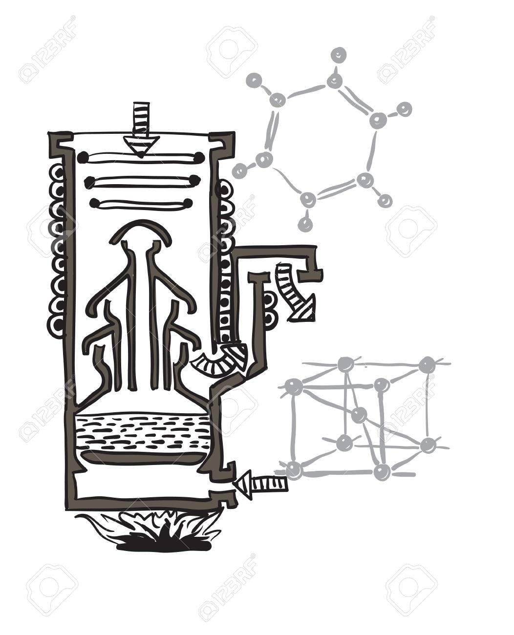 hight resolution of vector vector drawing scheme of mercury vacuum pump