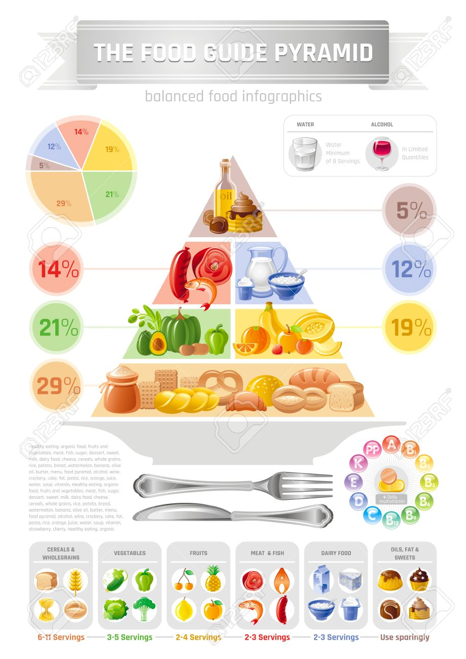 hight resolution of vector vector illustration of food pyramid infographics with abstract template diagram for healthy eating and diet cereals bread fruit vegetable