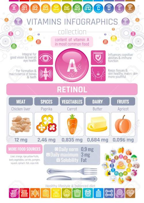 small resolution of vector vitamin a food icons healthy eating text letter logo isolated background diet infographic diagram table vector illustration