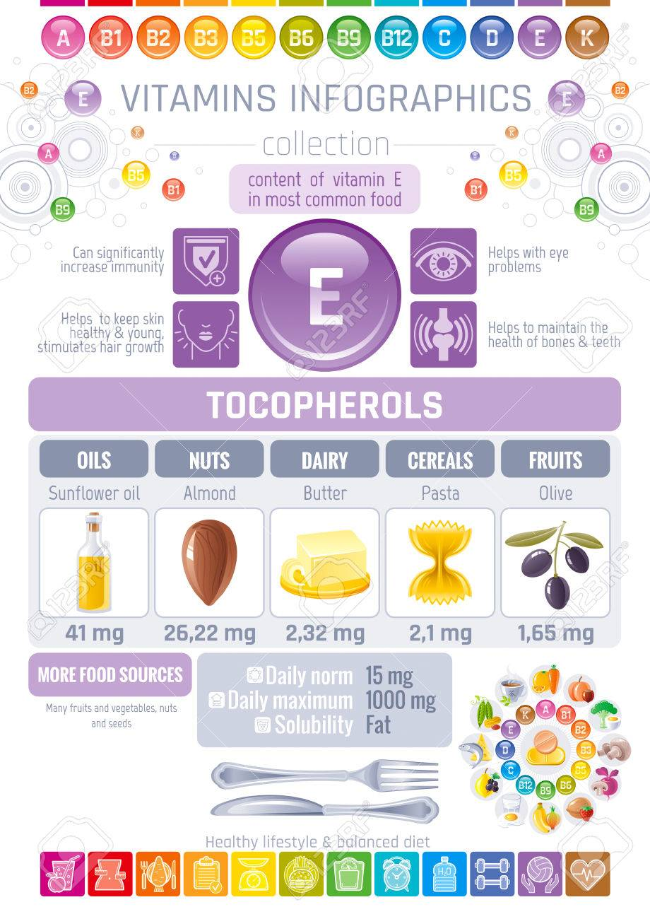 medium resolution of vector vitamin e food icons healthy eating text letter logo isolated background diet infographic diagram table vector illustration