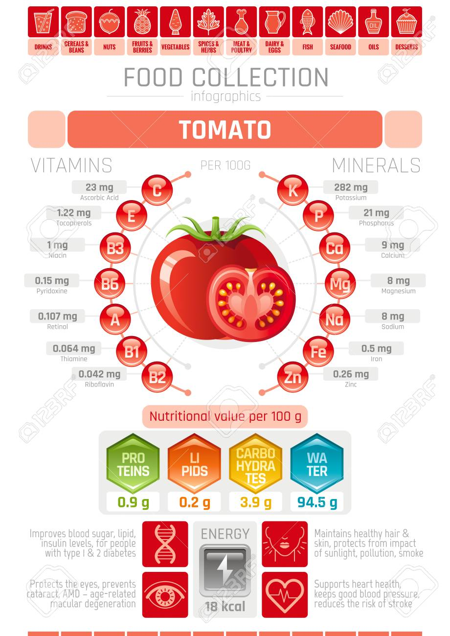 hight resolution of food infographics poster tomato vegetable vector illustration healthy eating icon set diet design