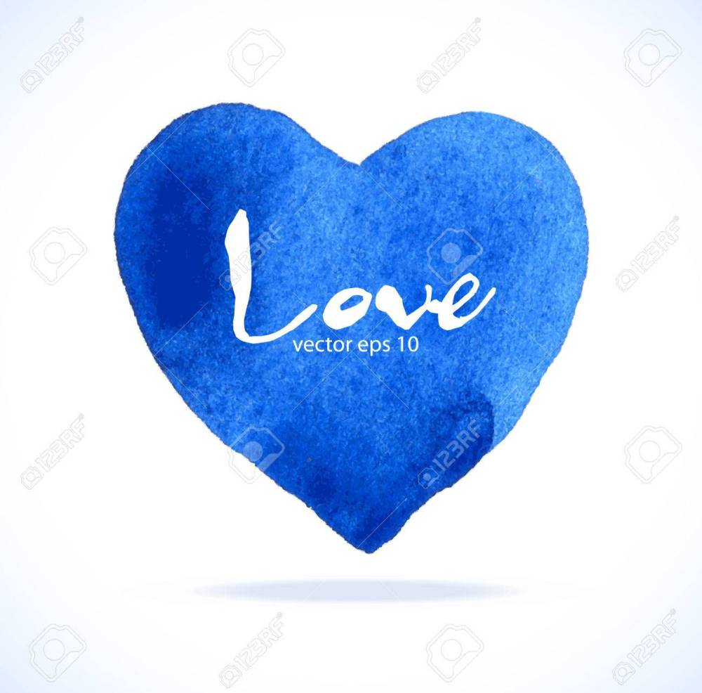 medium resolution of watercolor blue heart stock vector 32854847