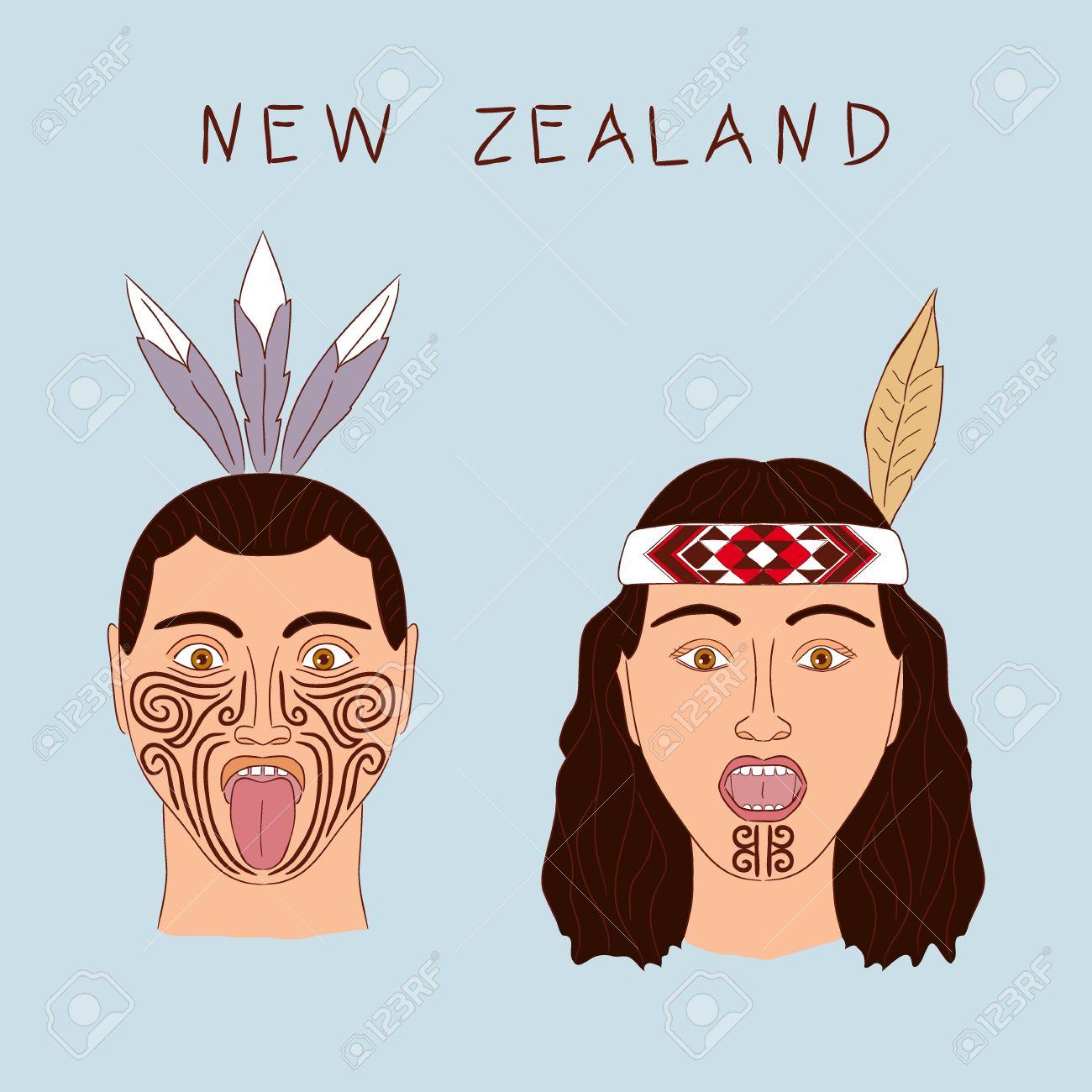 Tribu Maorí De Nueva Zelanda Un Hombre Y Una Mujer Tatuajes