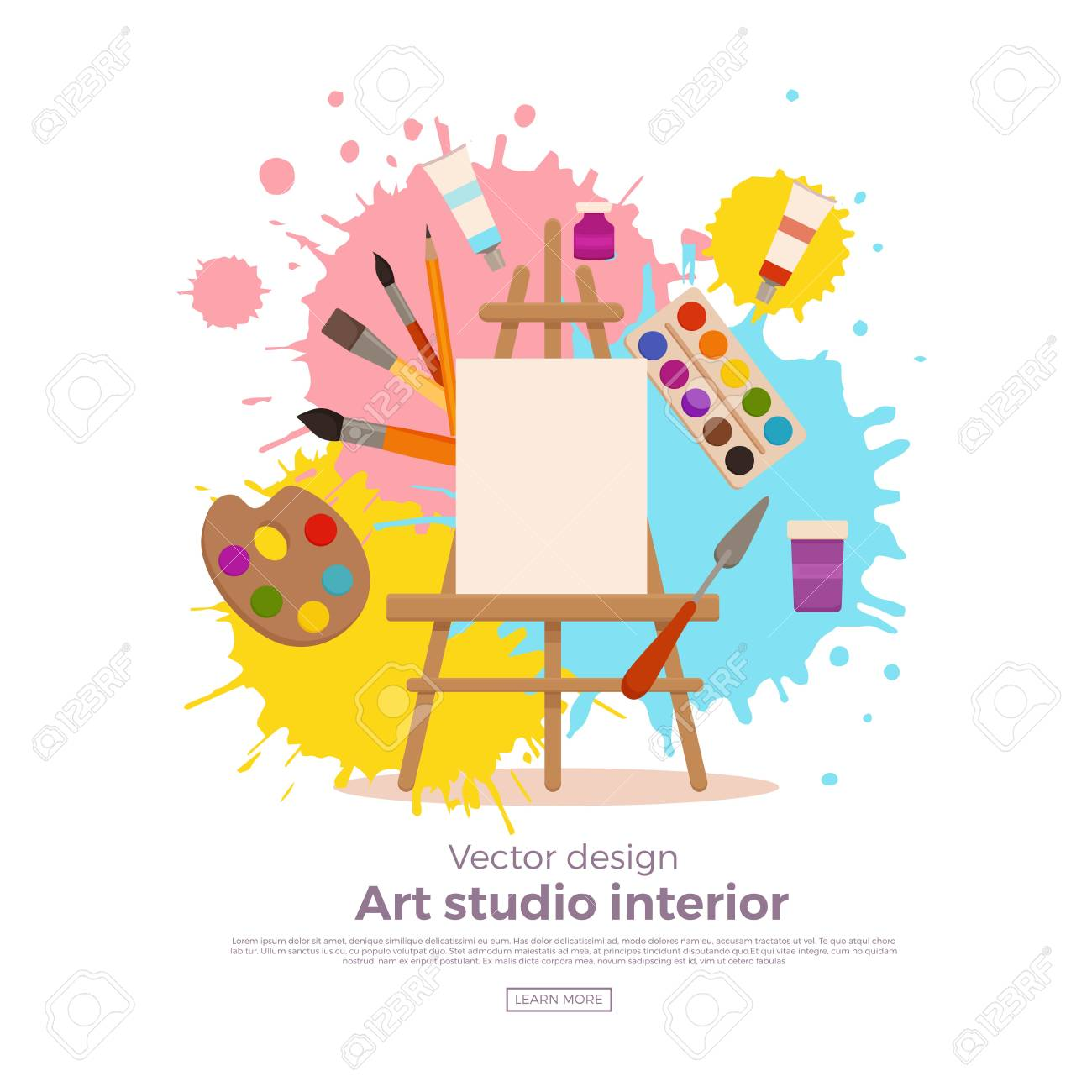 hight resolution of painting tools elements cartoon colorful vector concept art supplies easel canvas paint