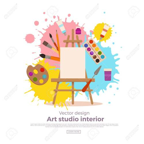 small resolution of painting tools elements cartoon colorful vector concept art supplies easel canvas paint