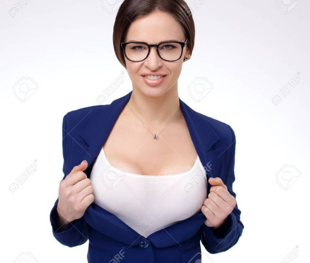 Sexy Young Businesswoman Taking Off Her Jacket And Showing Her Perfect Breasts Stock Photo 56582073