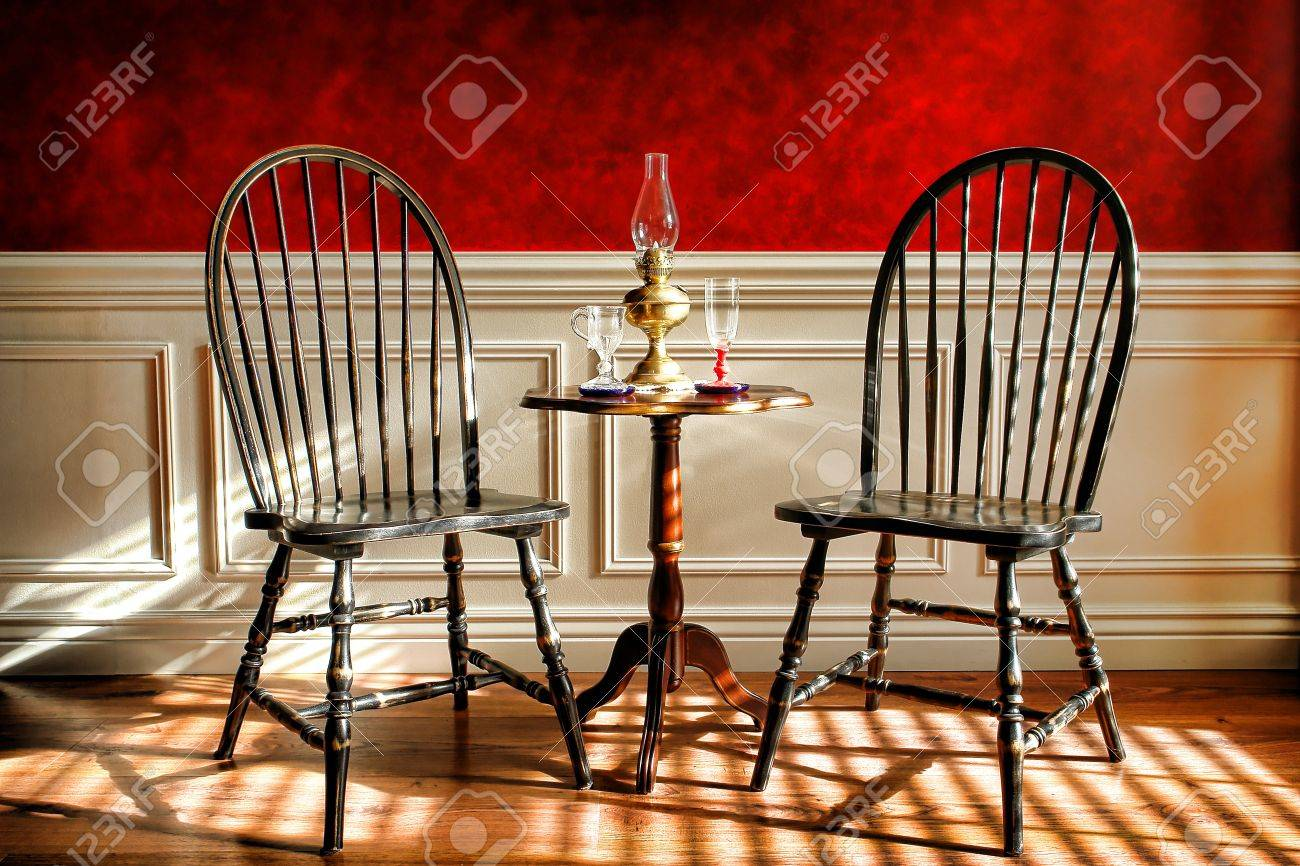 Windsor Chairs Black Antique Black Distressed Windsor Style Chairs And Mahogany Table
