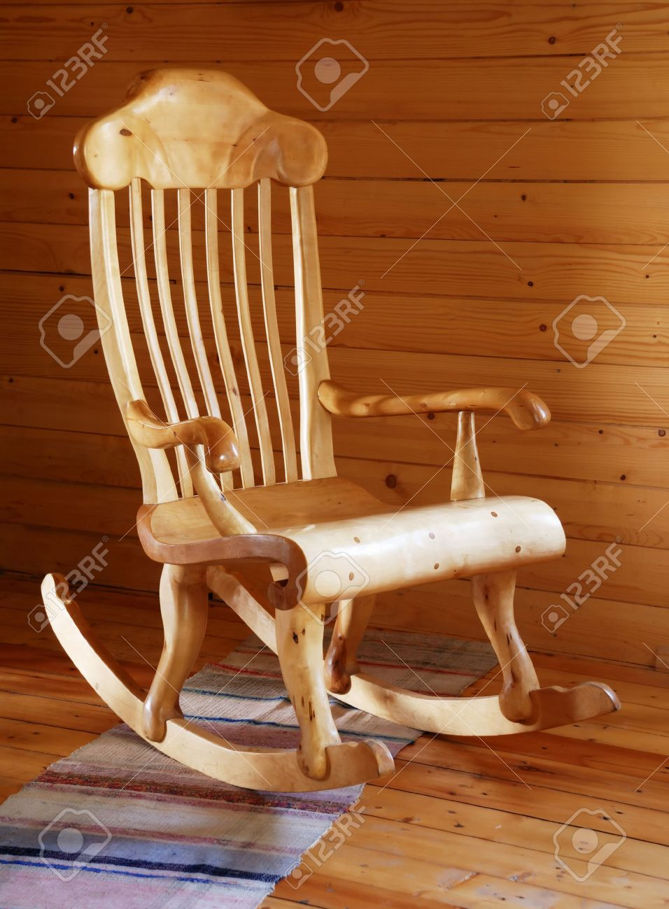 wood rocking chair styles white faux leather dining chairs carved wooden in the country style interior stock photo 3451965