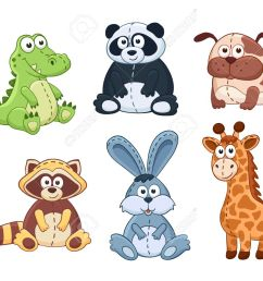 cute cartoon animals isolated on white background stuffed toys set vector illustration of adorable [ 1300 x 1034 Pixel ]