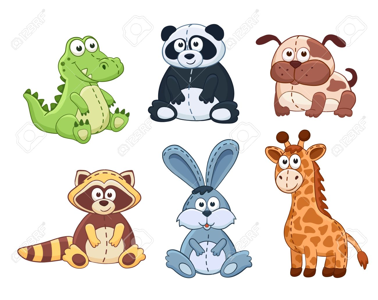 hight resolution of cute cartoon animals isolated on white background stuffed toys set vector illustration of adorable