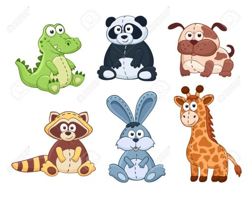 small resolution of cute cartoon animals isolated on white background stuffed toys set vector illustration of adorable