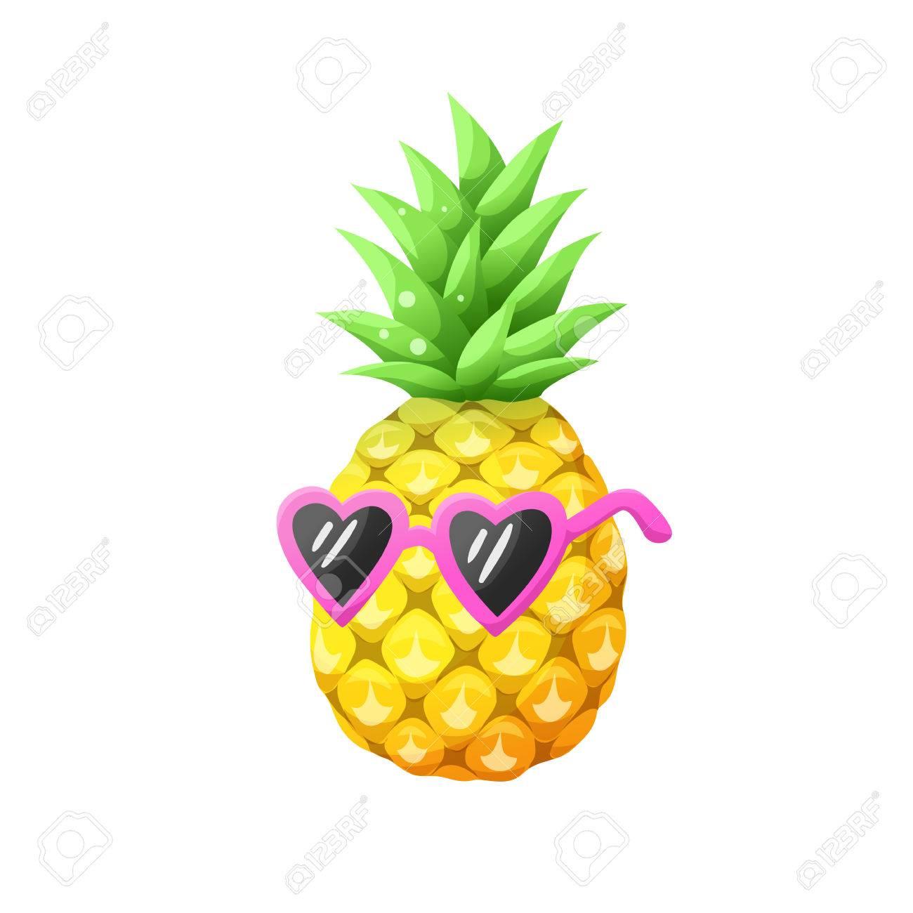 bright cartoon pineapple icon