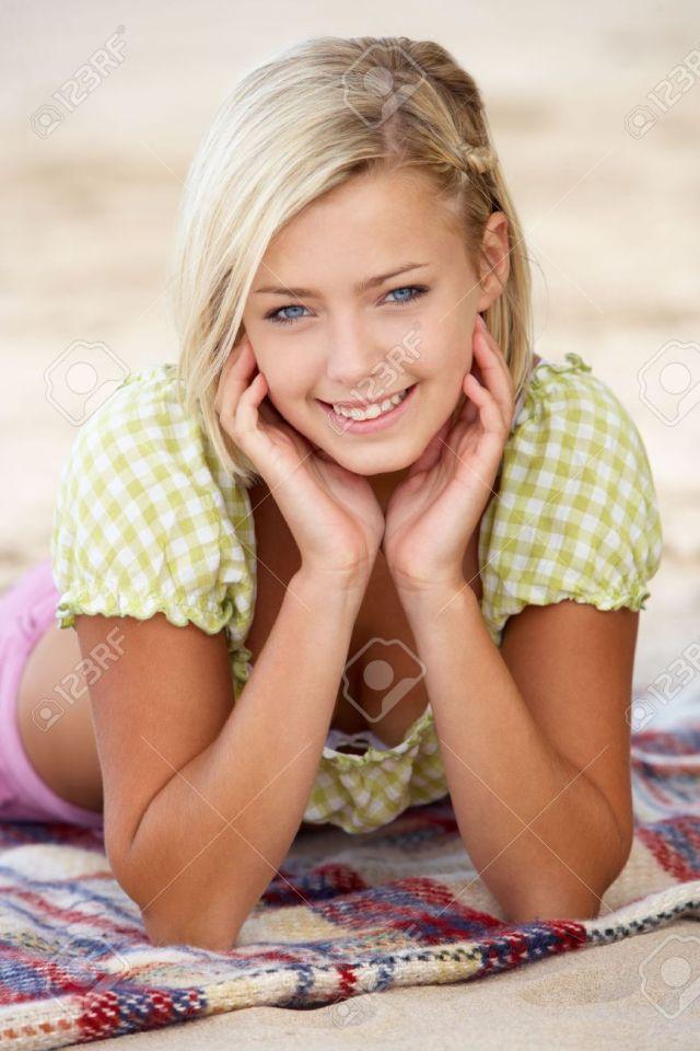 Portrait Teenage Girl On Beach Stock Photo 11246644
