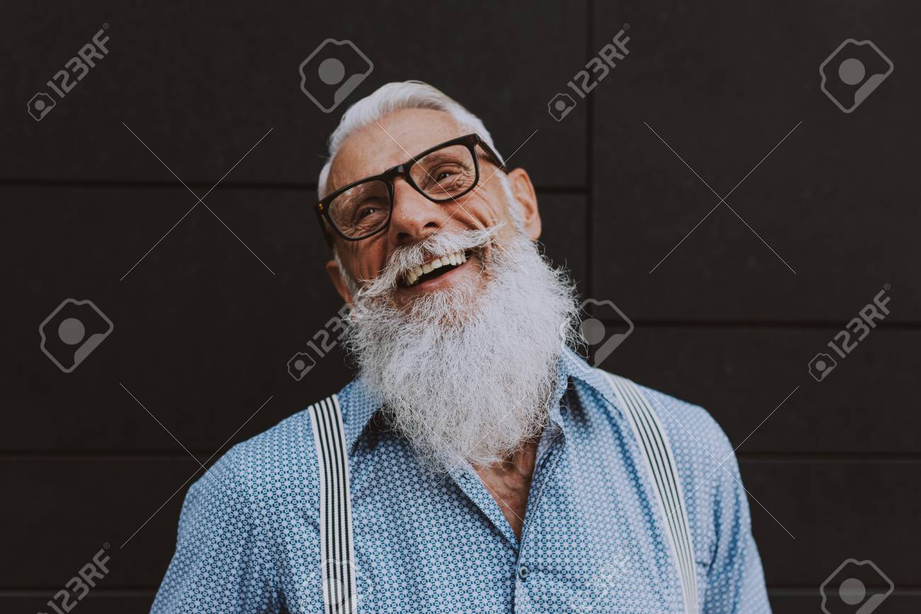 senior hipster with stylish