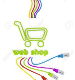 limerick connected cable 3d graphic with shopping web shop icon with colourful network cable stock photo [ 910 x 1300 Pixel ]