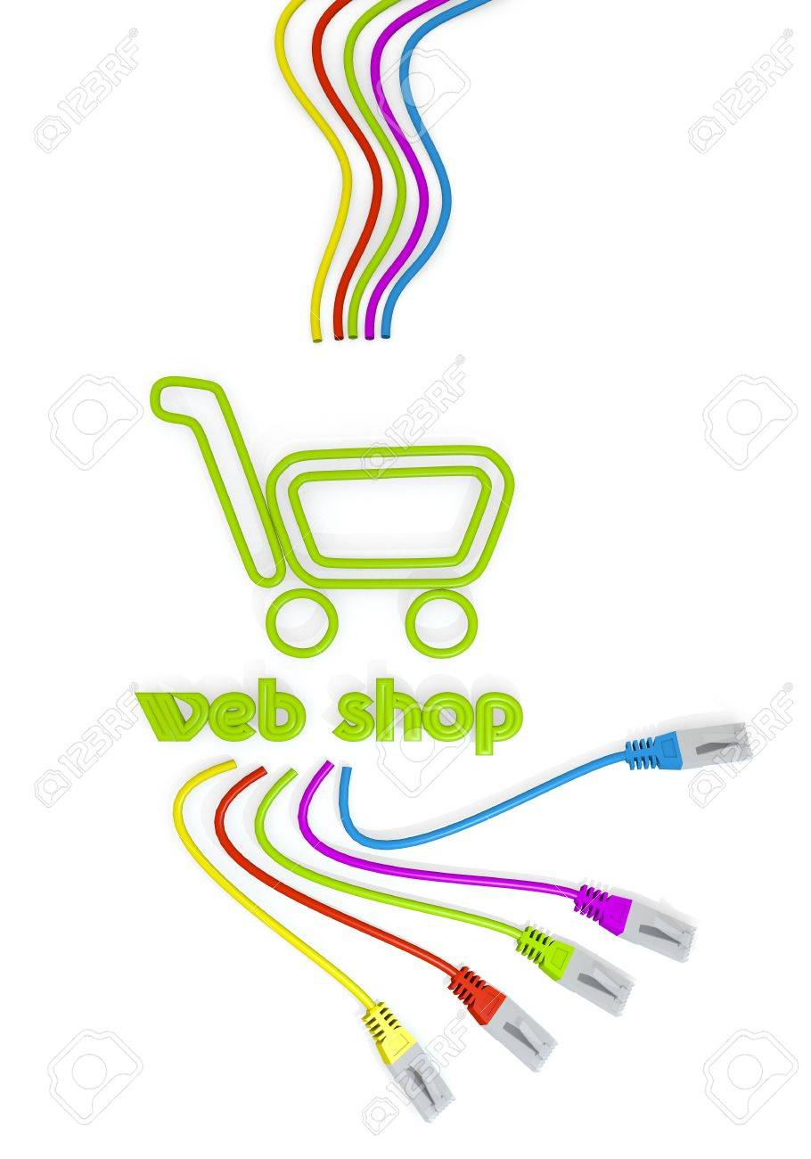hight resolution of limerick connected cable 3d graphic with shopping web shop icon with colourful network cable stock photo