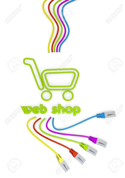 small resolution of limerick connected cable 3d graphic with shopping web shop icon with colourful network cable stock photo
