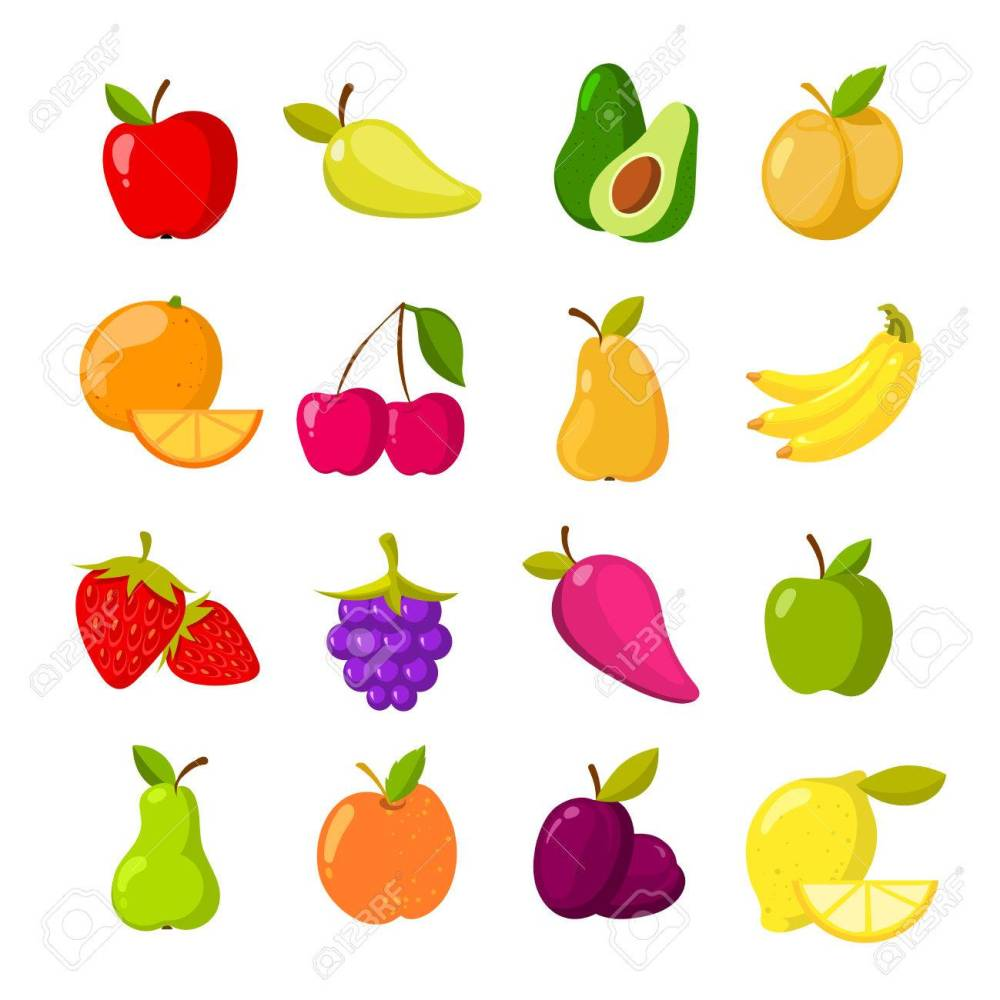 medium resolution of cartoon fruits vector clipart collection isolated stock vector 75340675