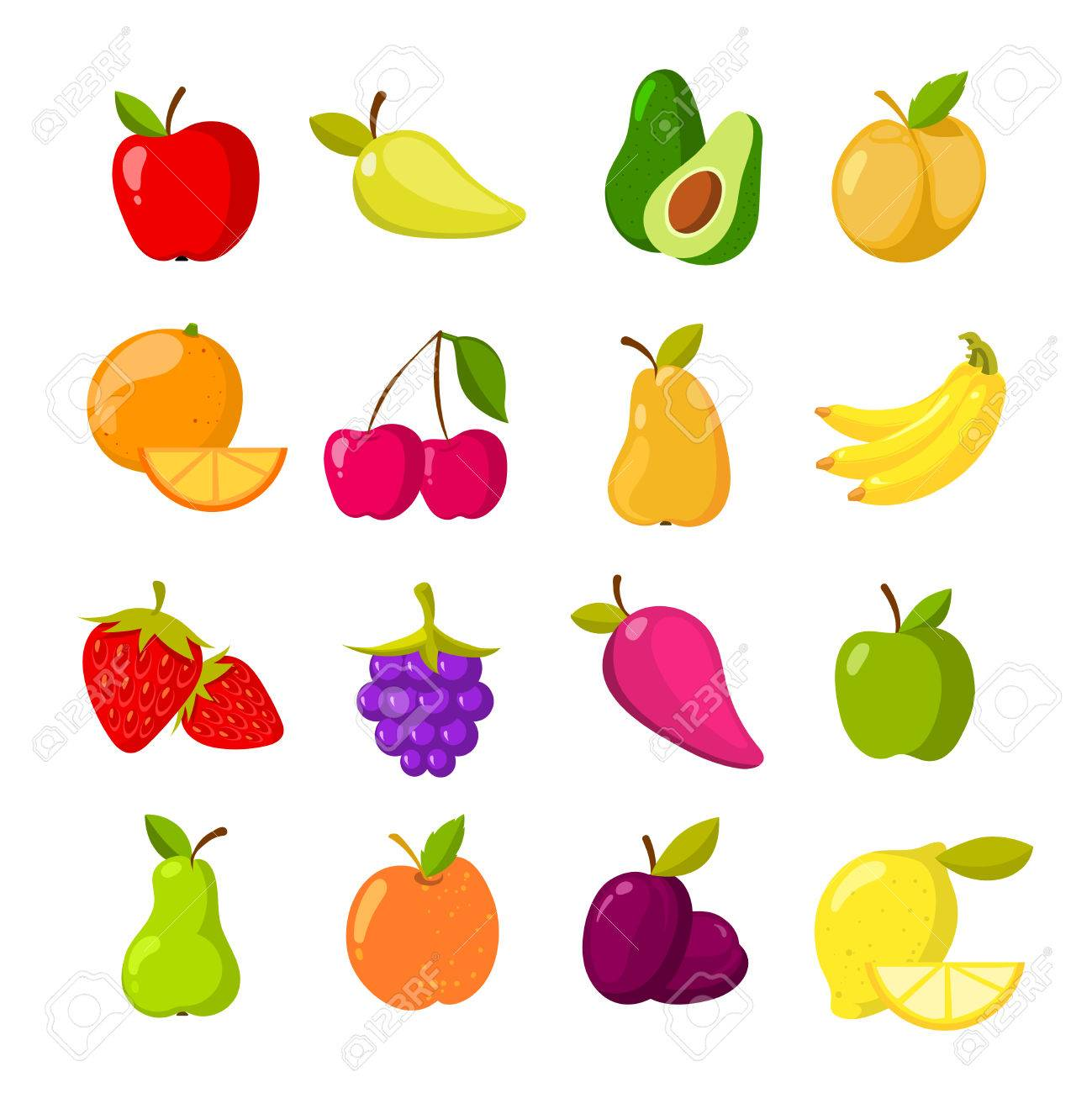 hight resolution of cartoon fruits vector clipart collection isolated stock vector 75340675
