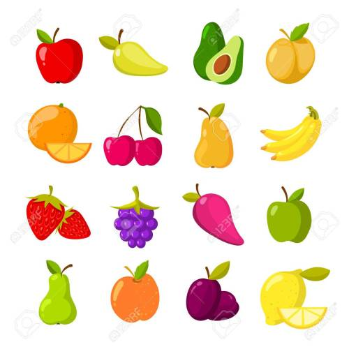 small resolution of cartoon fruits vector clipart collection isolated stock vector 75340675