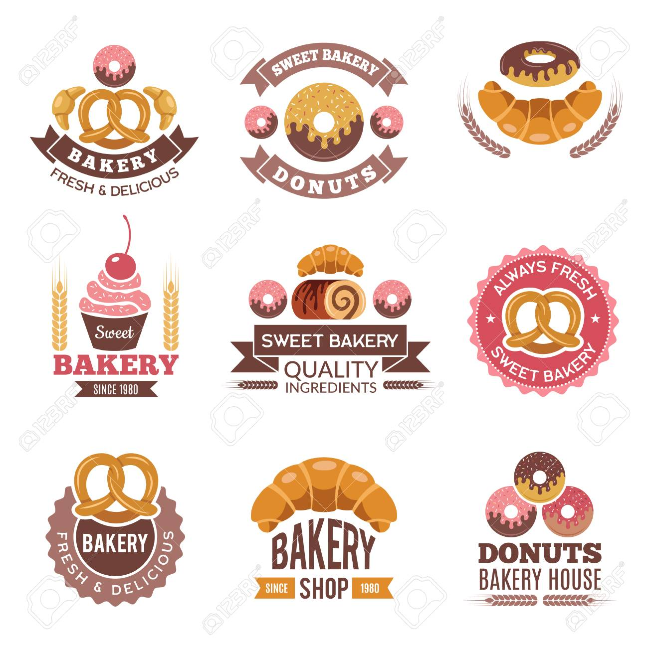 Bakery Shop Logo Donuts Cookies Fresh Food Cupcakes And Bread