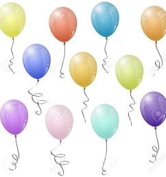 collection of eleven different colored flying party balloons stock vector 76355075 [ 1300 x 1300 Pixel ]