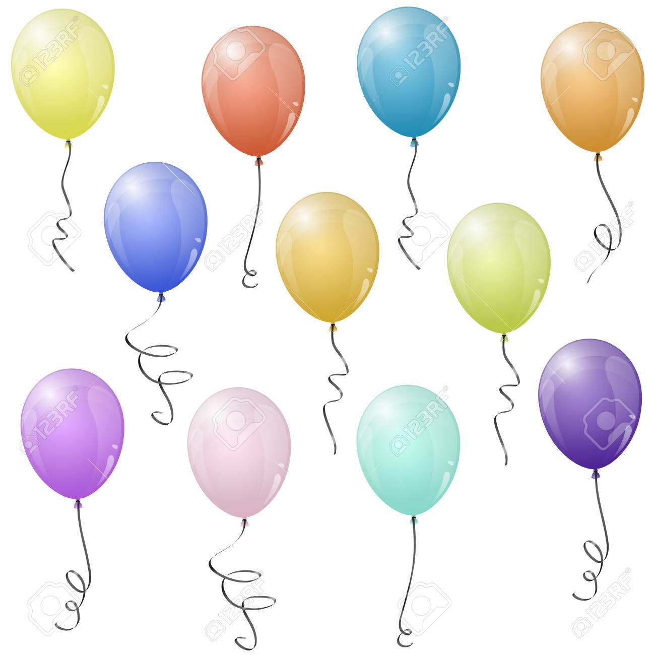 hight resolution of collection of eleven different colored flying party balloons stock vector 76355075