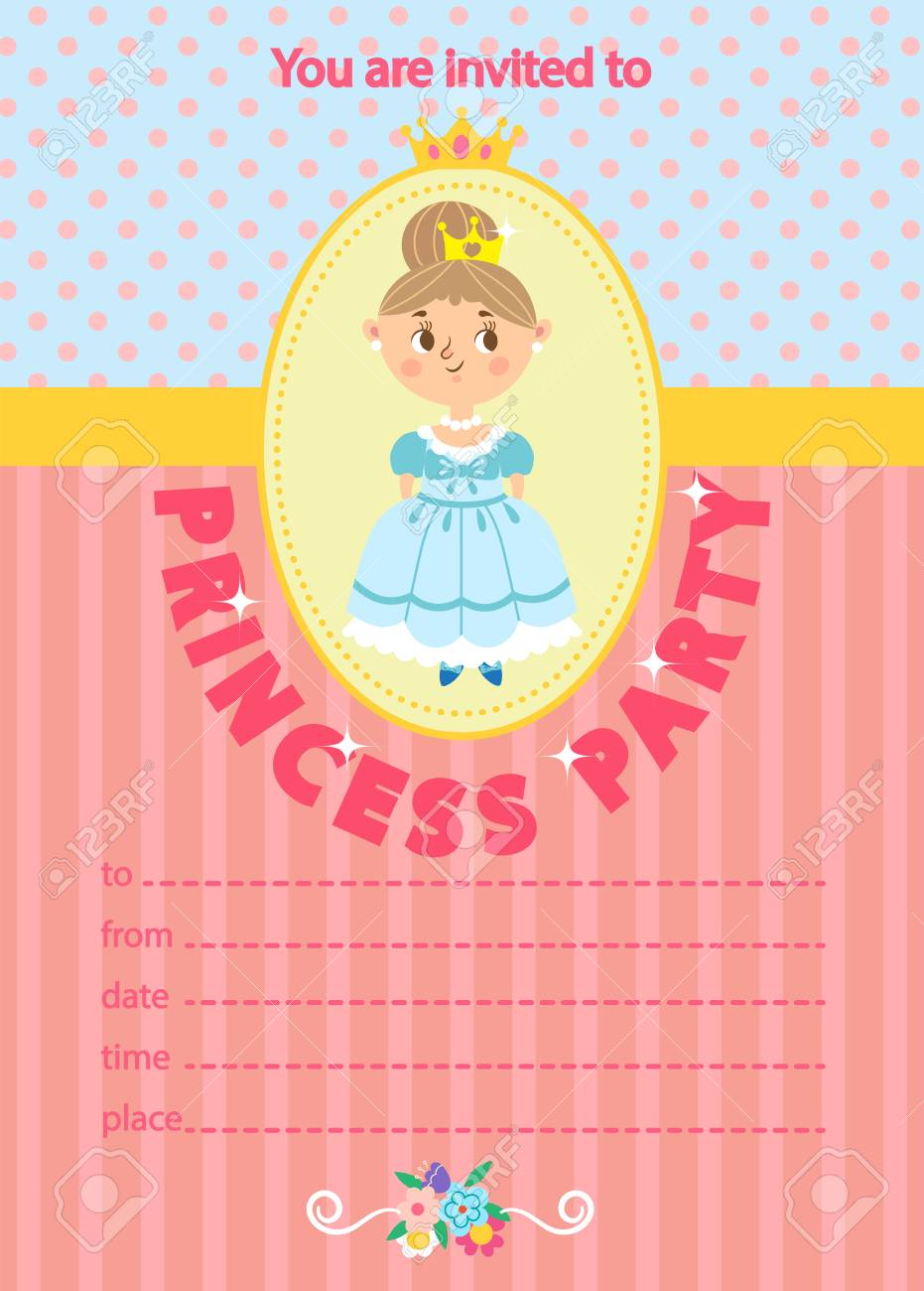 princess birthday party invitation template card kids fun in