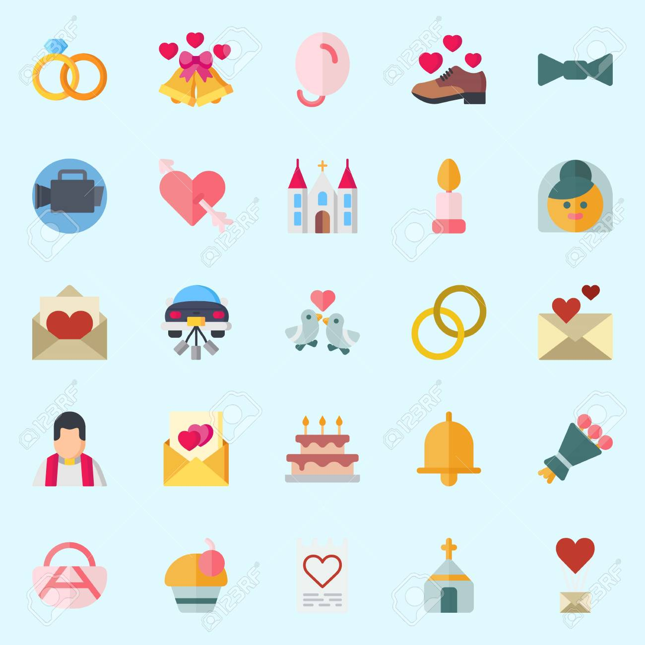 hight resolution of icon set about wedding with church priest love letter shoe wedding bells