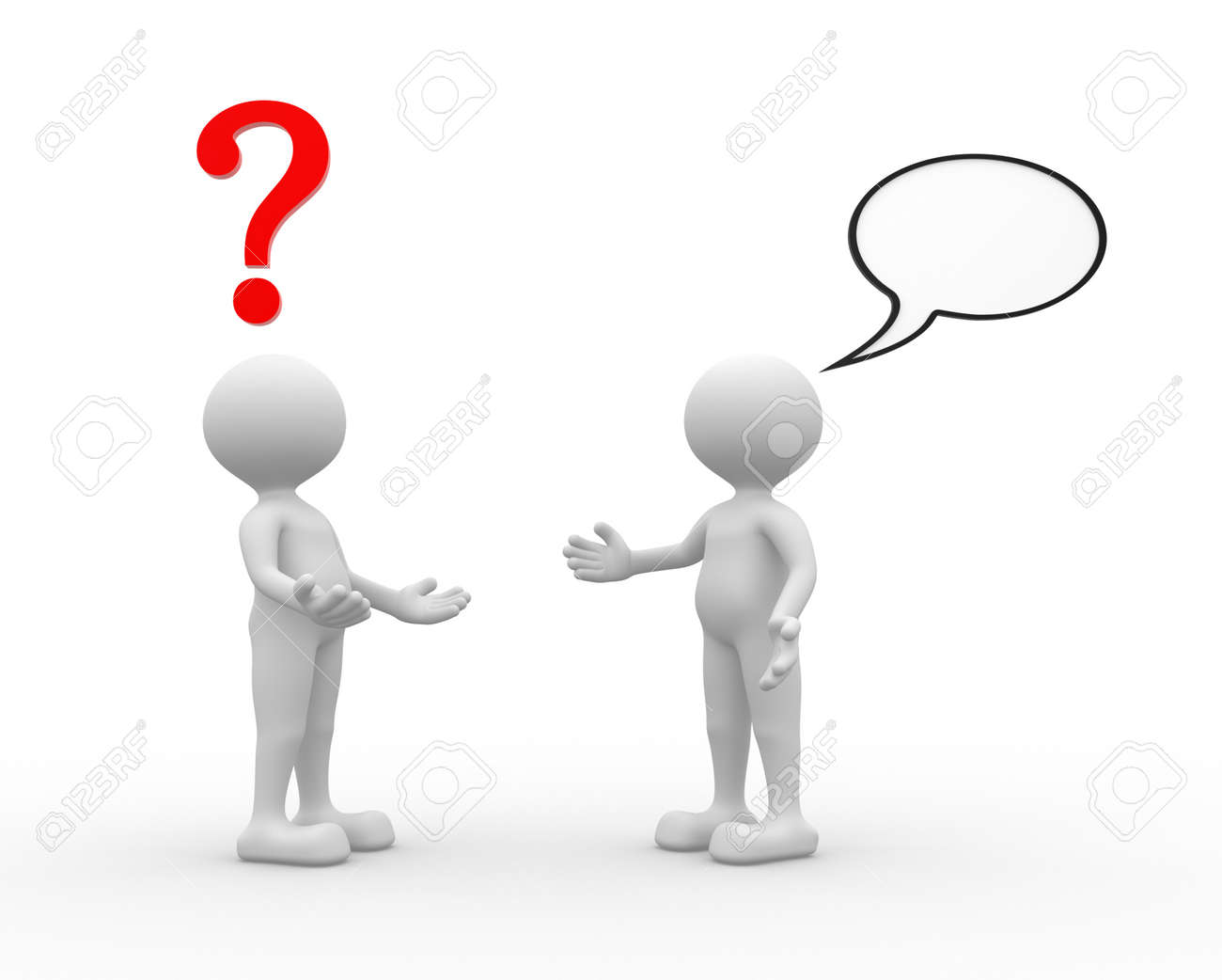 hight resolution of 3d people man person talking arguing question mark and blank bubble stock