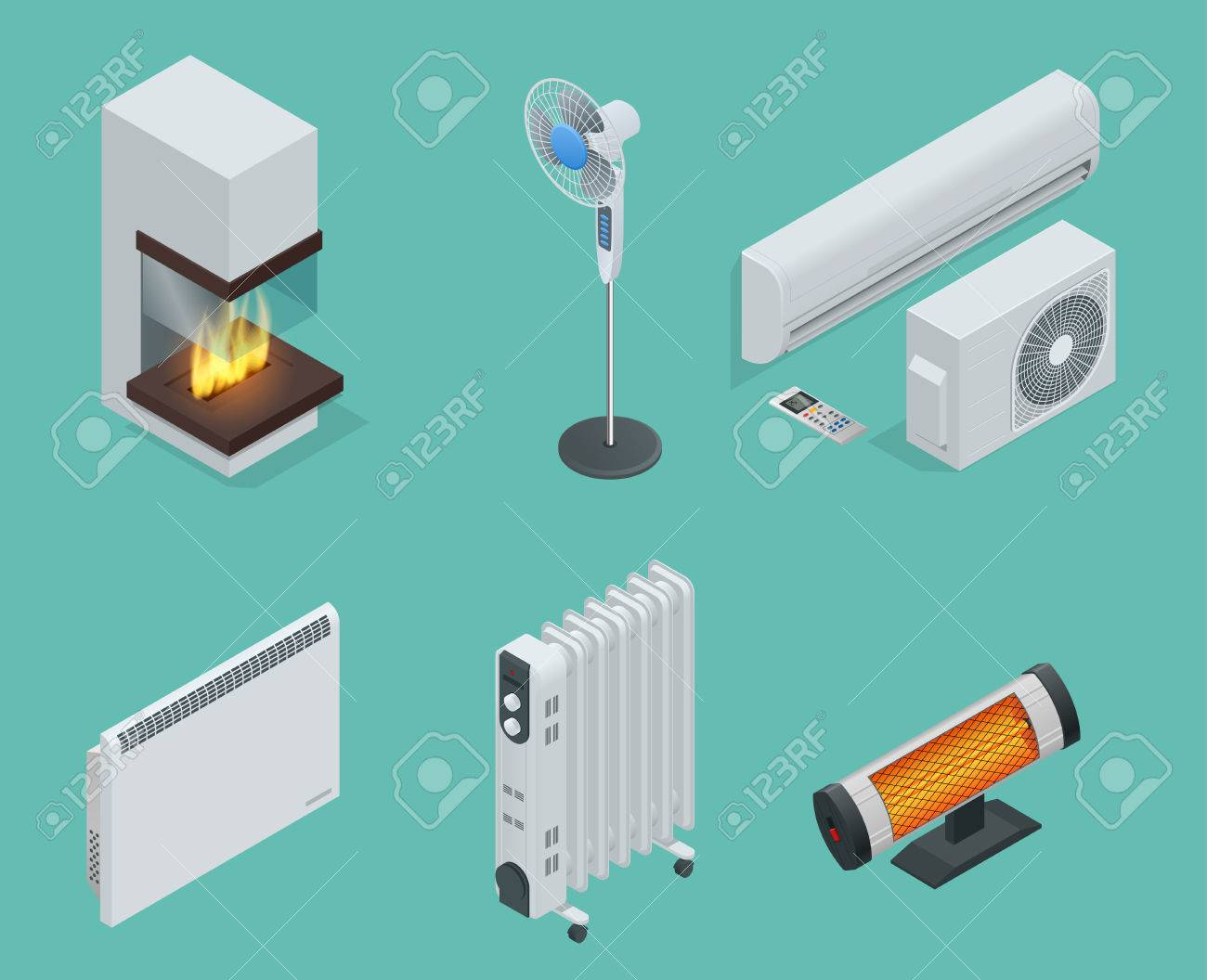 hight resolution of home climate equipment isometric icon set fireplace oil heater with screen controls convector heater