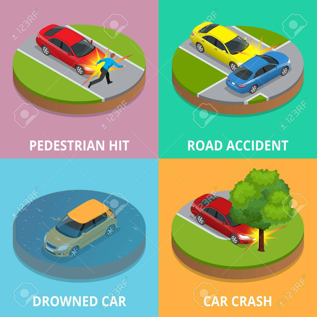 hight resolution of isometric pedestrian hit road accident drowned car and car spider diagram template vehicle crash diagram template