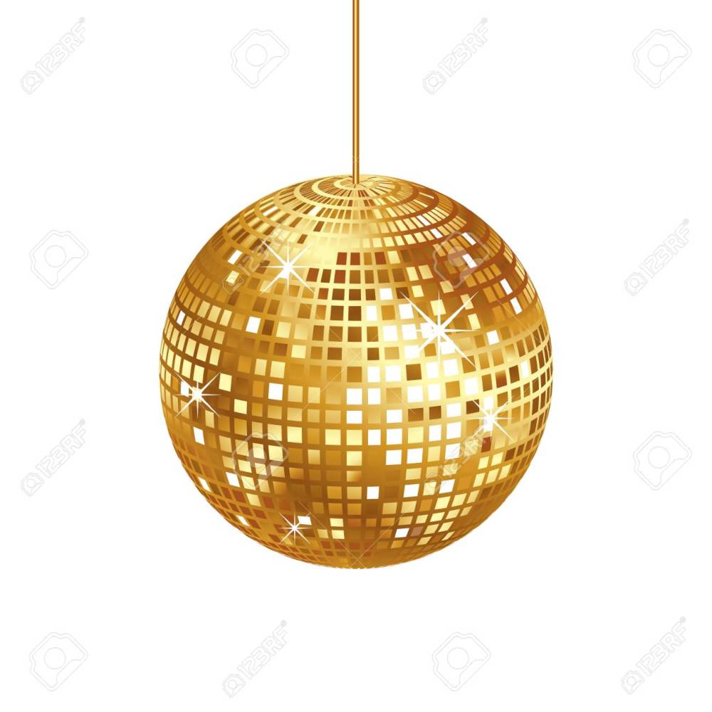 medium resolution of sparkling gold disco ball isolated stock vector 84560947