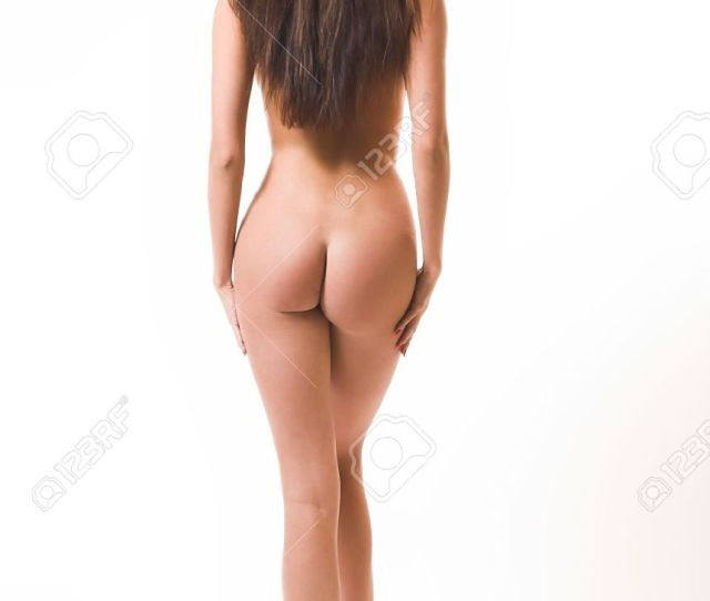 Stock Photo The Beautiful Naked Girl Costs On A White Background