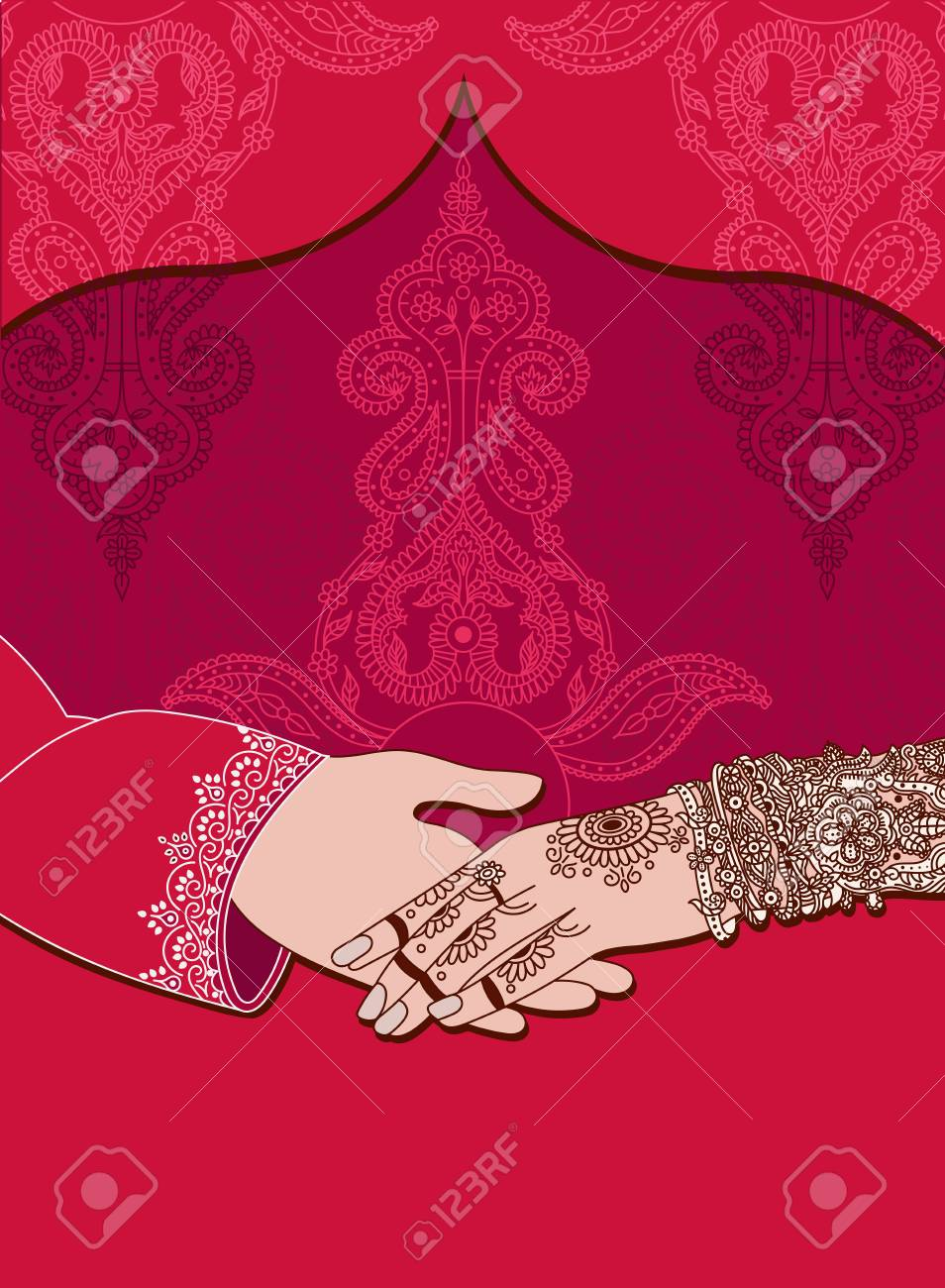 wedding indian invitation card on red background india marriage