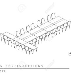 meeting room setup layout configuration t shape style perspective 3d with top view illustration outline [ 1300 x 975 Pixel ]